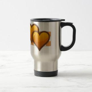 Corazones dobles anaranjados taza de viaje de acero inoxidable
