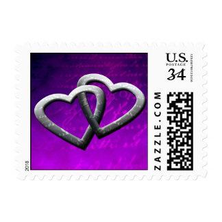 Corazones dobles de la postal que casan franqueo