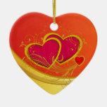 Corazones dobles adorno de cerámica en forma de corazón