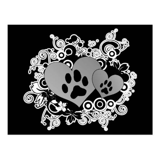 Corazones dobles del amor del mascota de la pata - tarjeta postal