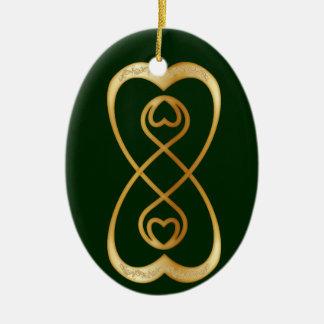 Corazones dobles del oro del infinito - 1 ornamentos para reyes magos