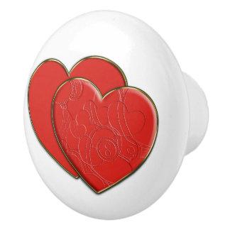 Corazones dobles en amor + su backgr. y ideas pomo de cerámica