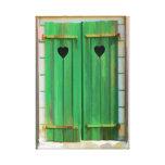 Corazones dobles en los obturadores verdes de la g impresion de lienzo