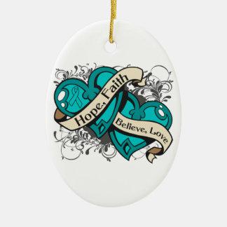 Corazones duales de la cistitis de la fe adorno navideño ovalado de cerámica
