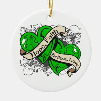 Corazones duales de la fe de la esperanza de la adorno navideño redondo de cerámica