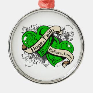 Corazones duales de la fe de la esperanza de la adorno navideño redondo de metal