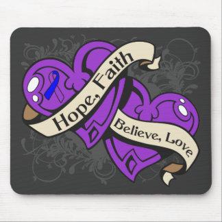 Corazones duales de la fe de la esperanza de la ar alfombrilla de ratón