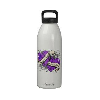 Corazones duales de la fe de la esperanza de la ar botella de agua reutilizable