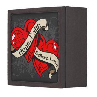 Corazones duales de la fe de la esperanza de la en cajas de joyas de calidad