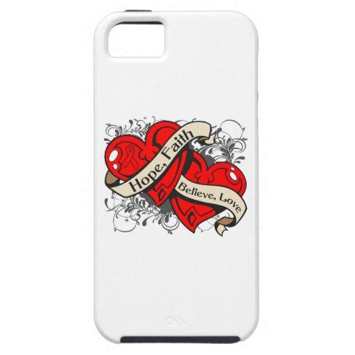 Corazones duales de la fe de la esperanza de la en iPhone 5 Case-Mate coberturas