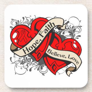 Corazones duales de la fe de la esperanza de la en posavaso