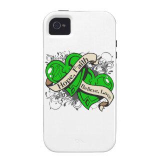 Corazones duales de la fe de la esperanza de la sa Case-Mate iPhone 4 carcasa