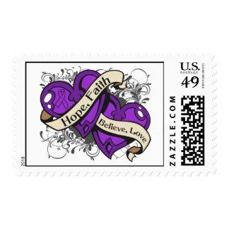Corazones duales de la fe de la esperanza de la timbres postales