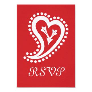 Corazones dulces de Paisley en la tarjeta de RSVP Invitaciones Personalizada