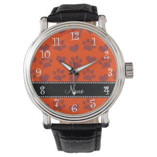 Corazones e impresión anaranjados de neón relojes de pulsera