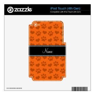 Corazones e impresiones anaranjados conocidos calcomanías para iPod touch 4G