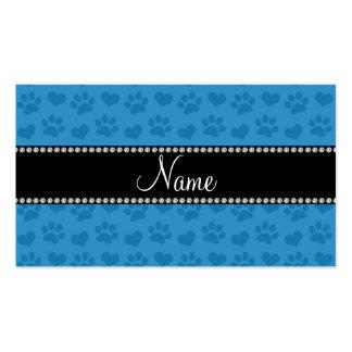Corazones e impresiones azules brumosos conocidos tarjetas de visita