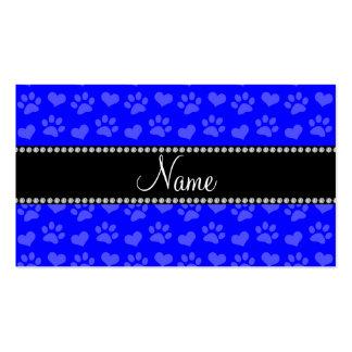 Corazones e impresiones azules de neón conocidos tarjetas de visita