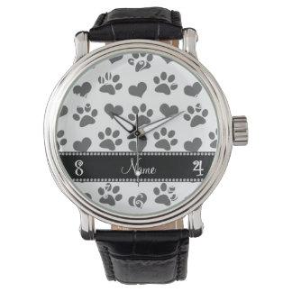 Corazones e impresiones blancos conocidos relojes de pulsera