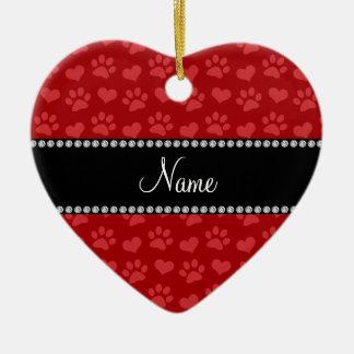 Corazones e impresiones rojos conocidos adorno navideño de cerámica en forma de corazón