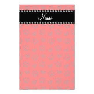 Corazones e impresiones rojos de neón conocidos pe papelería personalizada
