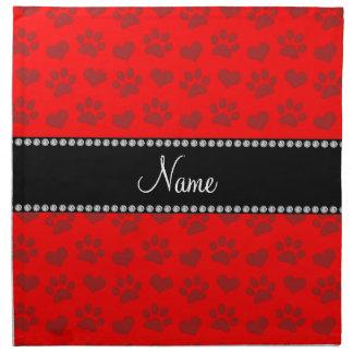 Corazones e impresiones rojos de neón conocidos pe servilleta imprimida