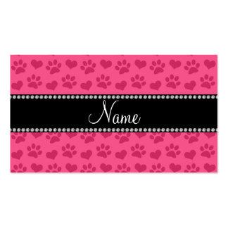 Corazones e impresiones rosados conocidos tarjetas de visita