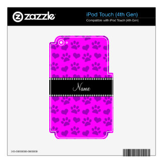 Corazones e impresiones rosados de neón conocidos iPod touch 4G calcomanías
