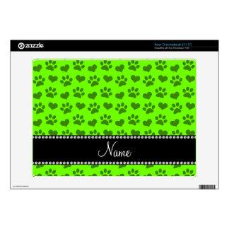 Corazones e impresiones verdes de neón conocidos calcomanía para acer chromebook
