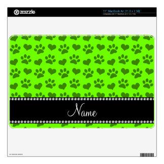 Corazones e impresiones verdes de neón conocidos calcomanía para MacBook air