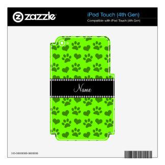 Corazones e impresiones verdes de neón conocidos iPod touch 4G calcomanías