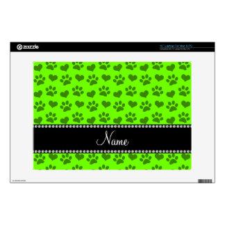 Corazones e impresiones verdes de neón conocidos portátil 33cm skins