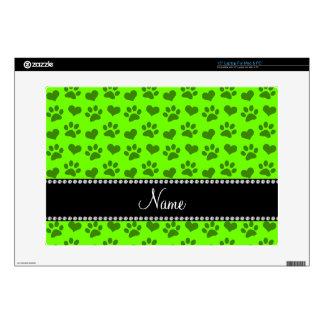 Corazones e impresiones verdes de neón conocidos portátil skins