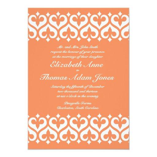 Corazones e invitación del boda de la flor de lis invitación 12,7 x 17,8 cm