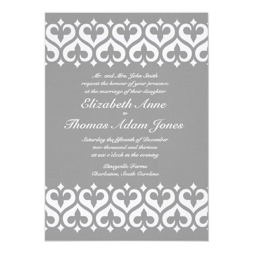 Corazones e invitación del boda de la flor de lis