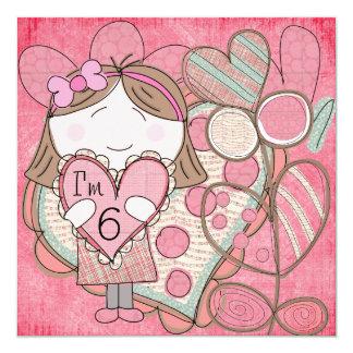 Corazones e invitación del cumpleaños del amor invitación 13,3 cm x 13,3cm