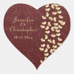 Corazones elegantes del amor del oro del boda y colcomanias corazon personalizadas