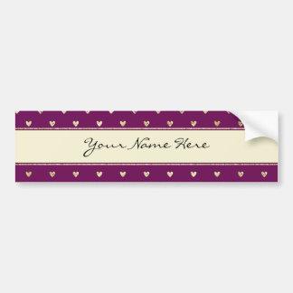Corazones elegantes del brillo del oro en púrpura pegatina para auto