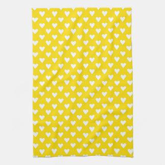 Corazones en amarillo toalla de cocina