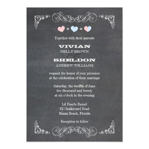 """Corazones en colores pastel + El boda con clase de Invitación 5"""" X 7"""""""