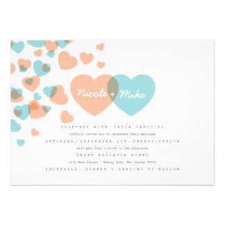 Corazones en colores pastel que casan la invitació anuncios