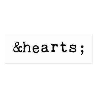 Corazones en el HTML Tarjetas De Visita Mini