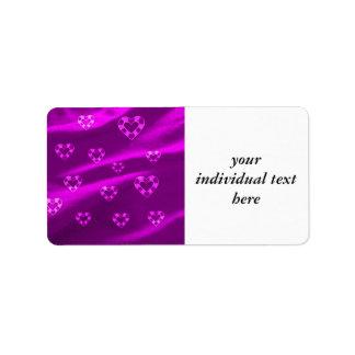Corazones en el jersey, púrpura etiquetas de dirección