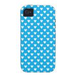 Corazones en fondo azul Case-Mate iPhone 4 carcasa