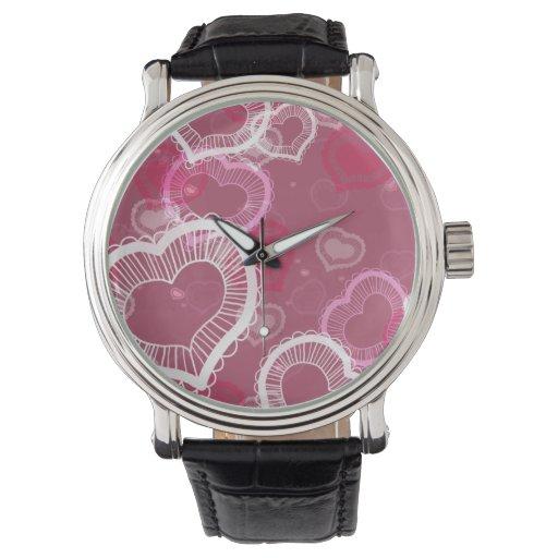 Corazones en rosa relojes de pulsera