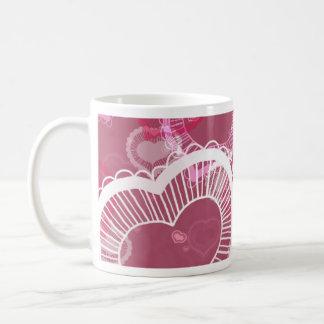 Corazones en rosa tazas