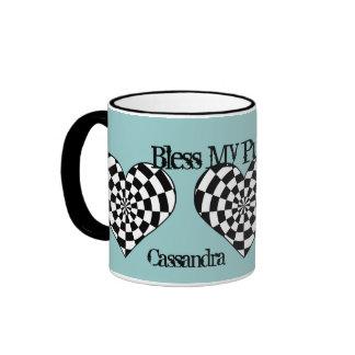 Corazones enrrollados punkyes en azul taza