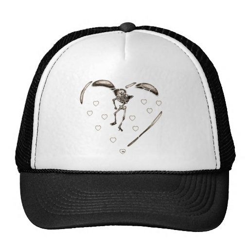 Corazones esqueléticos del amor gorras