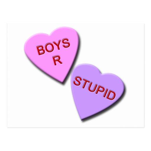 Corazones estúpidos del caramelo de los muchachos  postal