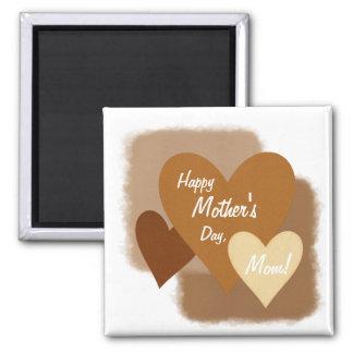 Corazones felices Brown del día de madre tres Imán Cuadrado